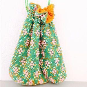Handbags - Reversible Drawstring Bucket Bag w/ Colorful Beads